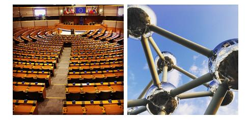 Blick ins Europa-Parlament und auf das Atomium